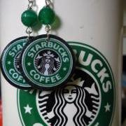 Starbucks with green tumbled agate gemstone. Coffee earrings. Starbucks Coffee. Starbucks Earrings. Starbucks Jewelry.