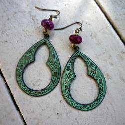 Verdigris Patina Brass Hoops. Earrings. Boho. Hippie. Purple gemstone. Purple earrings. Green patina earrings. Brass charms.
