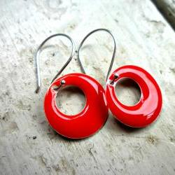 Lady in red. Red Enameled and Bali Sterling Silver earrings. Red & sterling silver earrings.
